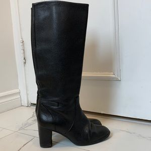 J Crew Black Pebbled Leather Boots Size 6.5